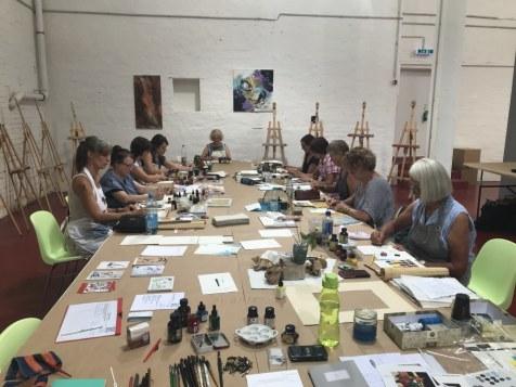 Impressionen vom Workshop Mit Tusche Zeichnen und Kolorieren (c) Foto von Susanne Haun