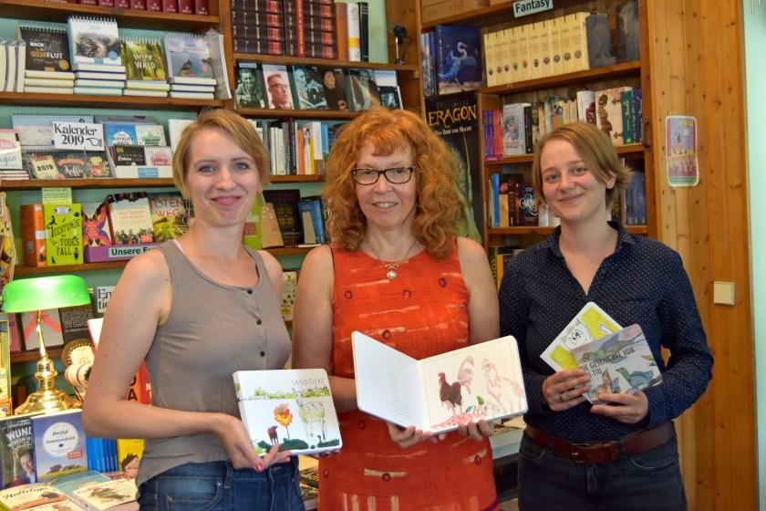 Tanja Bethke, Susanne Haun und Nina A. Schuchardt in der Buchhandlung am Schäfersee (c) Buchhandlung am Schäfersee