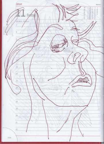 Selbstbildniss Tagebuch 5. - 14.1.2019, Zeichnung von Susanne Haun (c) VG Bild-Kunst, Bonn 2019