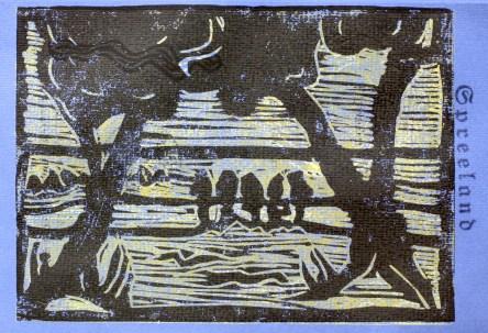 Bild 3 - Zwischen Straupitz und Laasow - Version 1 - Linolschnitt von Susanne Haun - 15 x 21 cm - 3 von 12