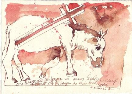 Auf sieben Bogen, Buerde, Tusche auf Silberburg Büttenpapier, 2007 15 x 20 cm (c) Zeichnung von Susanne Haun