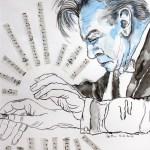 Mein Sinnbild von Herbert von Karajan, Zeichnung von Susanne Haun, 40 x 30 cm, Collage auf Aquarellkarton (c) VG Bild-Kunst, Bonn 2009