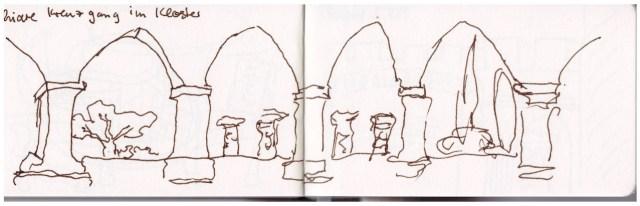 Skizzenbuch Neapel 5. - 09.04.2019, Santa Chiara, Zeichnung von Susanne Haun (c) VG Bild-Kunst, Bonn 2019