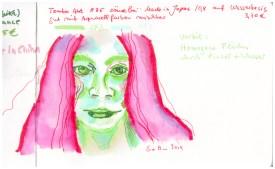 Sie schaut in gruen - rot, wasserloeslicher Marker in Hahnemuehle Watercolour Book, Zeichnung von Susanne Haun (c) VG Bild-Kunst, Bonn 2019
