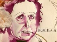 Ausschnitt Mein Sinnbild von Gertrude Stein, 65 x 50 cm, Tusche auf Hahnemuehle Aquarellkarton, Collage von Susanen Haun (c) VG Bild-Kunst, Bonn 2019