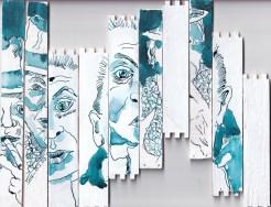 Zigarrenraucher MIX, Version 1, Tusche und Feder auf Zigarrenkiste, Collage von Susanne Haun (c) VG Bild-Kunst, Bonn 2020
