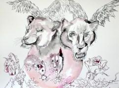 1 Der Panther, Tusche auf Aquarellkarton, 65 x 50 cm, Zeichnung von Susanne Haun (c) VG Bild-Kunst, Bonn 2020
