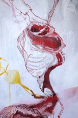 Detail - Maria und der Erbsenbaum, 148 x 50 cm, Acryl und Tusche auf Leinwand, Gemälde von Susanne Haun (c) VG Bild-Kunst, Bonn 2020