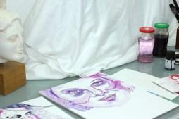 Entstehung Mein Sinnbild von Marianne Rosenberg, 36 x 26 cm, Tusche auf Aquarellkarton, Zeichnung von Susanne Haun (c) VG Bild-Kunst, Bonn 2020