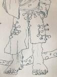 Entstehung des Deuteengels, Tusche auf Aquarellkarton, 65 x 50 cm, Zeichnung von Susanne Haun