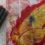 Ausschnitt Die Zeit steht still, Version 1, 30,5 x 22,7 cm, Marker auf Katalog, Aneignung, Zeichung von Susanne Haun (c) VG Bild-Kunst, Bonn 2020
