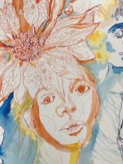 Aus meinen Gedanken erscheint Flora, 76 x 56 cm, Tusche auf Hahnemühle Leonardo Büttenpapier, Zeichnung von Susanne Haun (c) VG Bild-Kunst, Bonn 2020