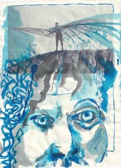 Blatt 1 - Zyklus Otto Lilienthal - Zeichnung von Susanne Haun - 30 x 20 cm - Tusche auf Silberburg Bütten (c) VG Bild-Kunst, Bonn 2020