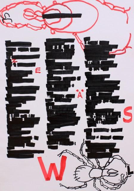 Die Zecke, 30,5 x 22,7 cm, Marker auf Katalog, Aneignung, Zeichung von Susanne Haun (c) VG Bild-Kunst, Bonn 2020