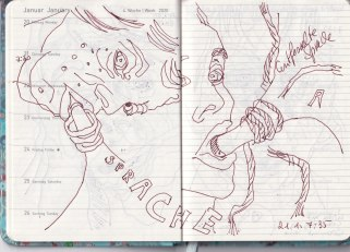Entwurf Entfesselte Sprache aus Selbstbildnisstagebuch 01.01.2020 - 07.02.2020, Zeichnung von Susanne Haun (c) VG Bild-Kunst, Bonn 2020