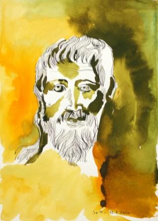 Heraklit, 1. Version, 36 x 26 cm, Tusche auf Aquarellkarton (c) Zeichnung von Susanne Haun