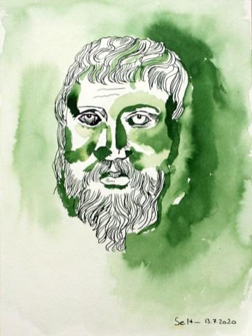 Heraklit, 2. Version, 32 x 24 cm, Tusche auf Aquarellkarton (c) Zeichnung von Susanne Haun