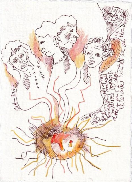 Tagebucheintrag 21.7.2020, Ich bin vier, 20 x 15 cm, Tinte und Buntstift auf Silberburg Büttenpapier, Zeichnung von Susanne Haun (c) VG Bild-Kunst, Bonn 2020