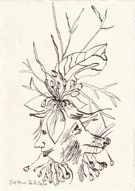 Tagebucheintrag 26.7.2020, Wo schaun wir hin?, 20 x 15 cm, Tinte und Buntstift auf Silberburg Büttenpapier, Zeichnung von Susanne Haun (c) VG Bild-Kunst, Bonn 2020
