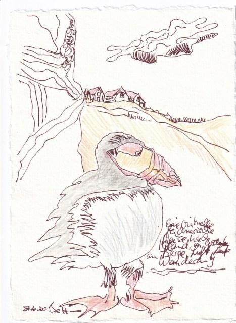 Tagebucheintrag 27.6.2020, mit Farbe - Virtuell nach Island reisen - ohne Farbe, 20 x 15 cm, Tinte und Buntstift auf Silberburg Büttenpapier, Zeichnung von Susanne Haun (c) VG Bild-Kunst, Bonn 2020