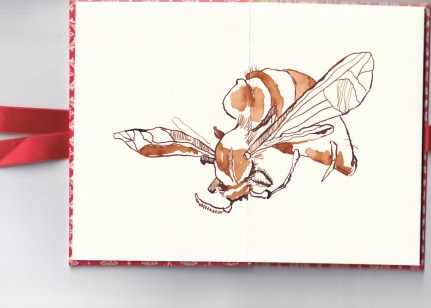 Leporello, Recto S. 1 und 2, 17,5 x 12 cm, Eine kleine Hummel, Zeichnung von Susanne Haun (c) VG Bild-Kunst, Bonn 2020
