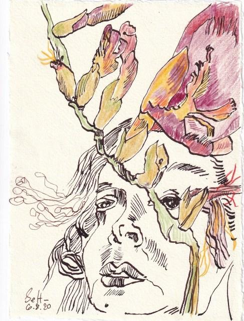 Tagebucheintrag 06.082020, Durch die Fresien geschaut, 20 x 15 cm, Tinte und Buntstift auf Silberburg Büttenpapier, Zeichnung von Susanne Haun (c) VG Bild-Kunst, Bonn 2020