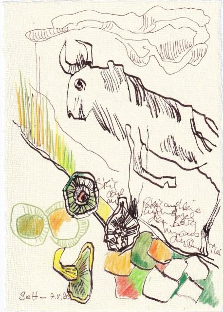 Tagebucheintrag 07.08.2020, Lauf, kleiner Stier, Susanne, lauf, 20 x 15 cm, Tinte und Buntstift auf Silberburg Büttenpapier, Zeichnung von Susanne Haun (c) VG Bild-Kunst, Bonn 2020