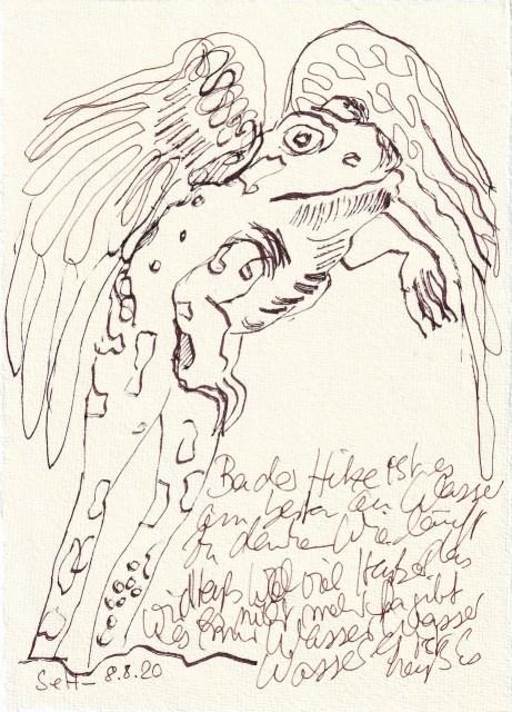 Tagebucheintrag 08.08.2020, Frosch, springe hoch und fliege davon, 20 x 15 cm, Tinte und Buntstift auf Silberburg Büttenpapier, Zeichnung von Susanne Haun (c) VG Bild-Kunst, Bonn 2020