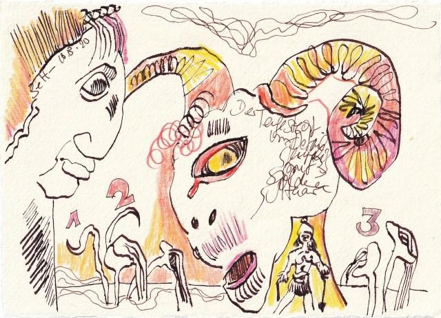 Tagebucheintrag 10.08.2020, Der Teufel steckt im Detail, 20 x 15 cm, Tinte und Buntstift auf Silberburg Büttenpapier, Zeichnung von Susanne Haun (c) VG Bild-Kunst, Bonn 2020