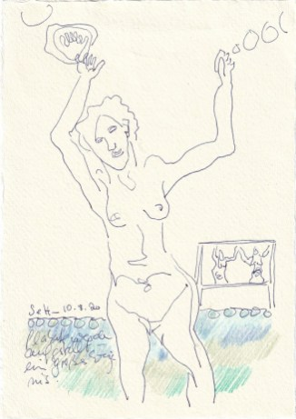 Tagebucheintrag 10.08.2020, Sie tanzt, 20 x 15 cm, Tinte und Buntstift auf Silberburg Büttenpapier, Zeichnung von Susanne Haun (c) VG Bild-Kunst, Bonn 2020