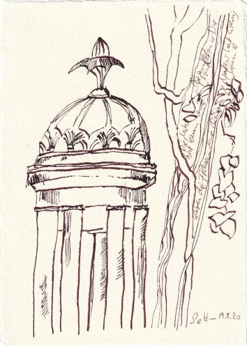 Tagebucheintrag 19.08.2020, Die Natur hat kaum eine Chance, 20 x 15 cm, Tinte und Buntstift auf Silberburg Büttenpapier, Zeichnung von Susanne Haun (c) VG Bild-Kunst, Bonn 2020