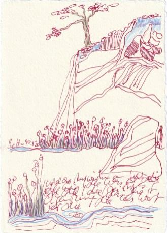 Tagebucheintrag 20.08.2020, Welche Auswirkungen hat meine Idee, 20 x 15 cm, Tinte und Buntstift auf Silberburg Büttenpapier, Zeichnung von Susanne Haun (c) VG Bild-Kunst, Bonn 2020
