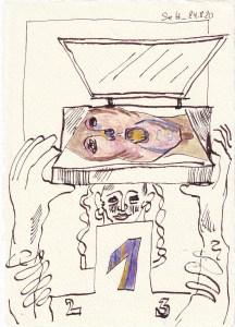 Tagebucheintrag 24.08.2020, Scanner-Lady - es geht voran, 20 x 15 cm, Tinte und Buntstift auf Silberburg Büttenpapier, Zeichnung von Susanne Haun (c) VG Bild-Kunst, Bonn 2020