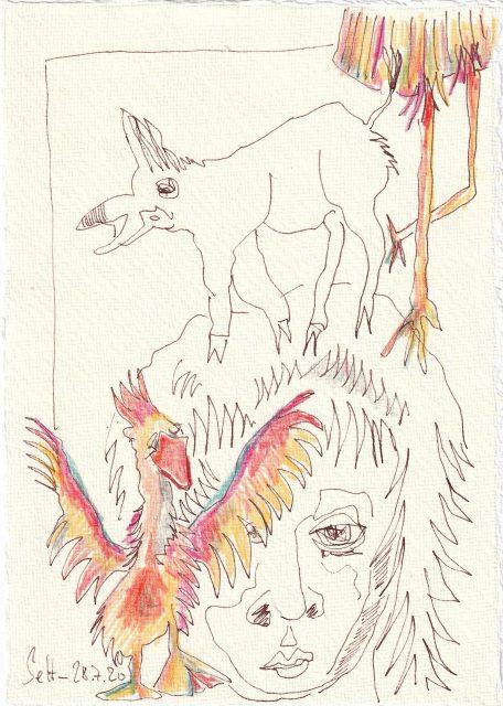 Tagebucheintrag 28.7.2020, Die Vogelhochzeit, 20 x 15 cm, Tinte und Buntstift auf Silberburg Büttenpapier, Zeichnung von Susanne Haun (c) VG Bild-Kunst, Bonn 2020