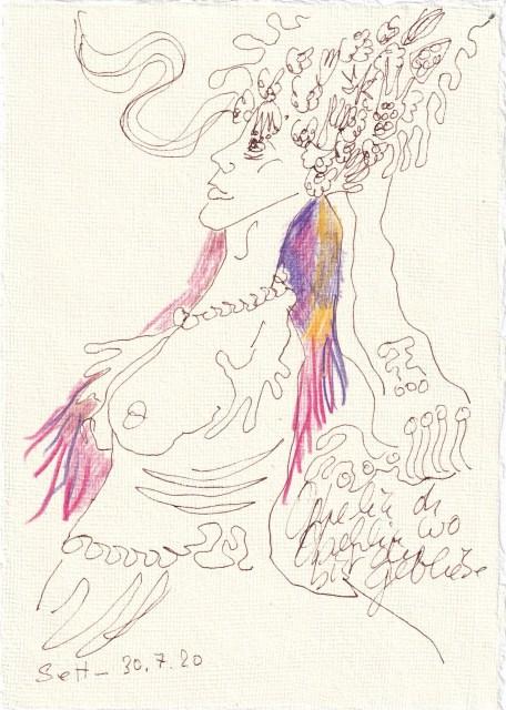 Tagebucheintrag 30.7.2020, Ophelia, wo bist du, 20 x 15 cm, Tinte und Buntstift auf Silberburg Büttenpapier, Zeichnung von Susanne Haun (c) VG Bild-Kunst, Bonn 2020