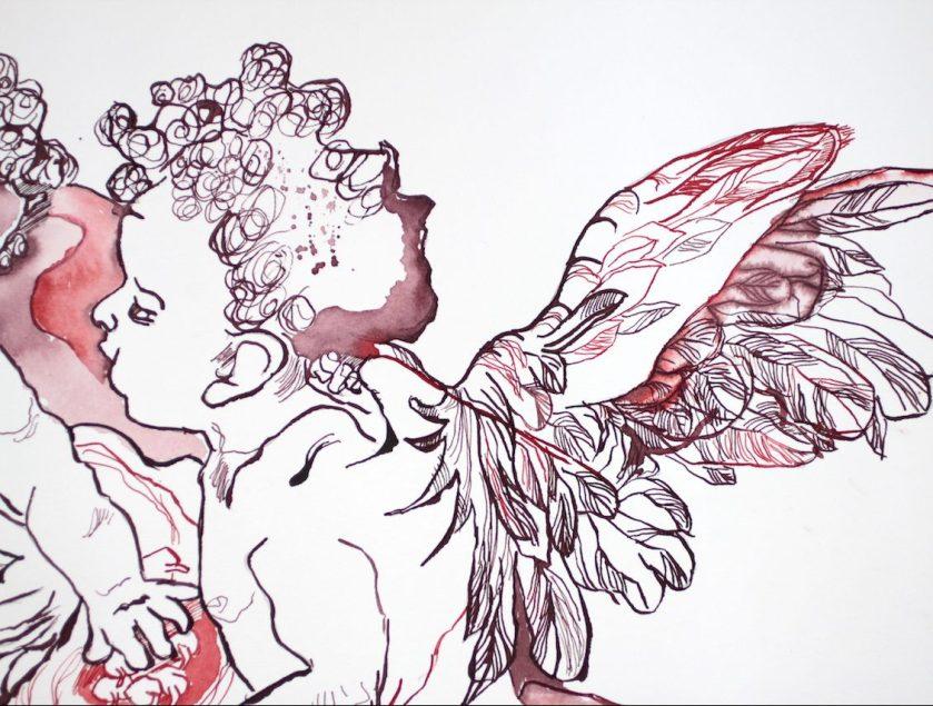Ausschnitt - Madonne del Latte nach Corregio, 69 x 57 cm, Tusche auf William Turner Hahnemühle Papier, Zeichnung von Susanne Haun (c) VG Bild-Kunst, Bonn 2020