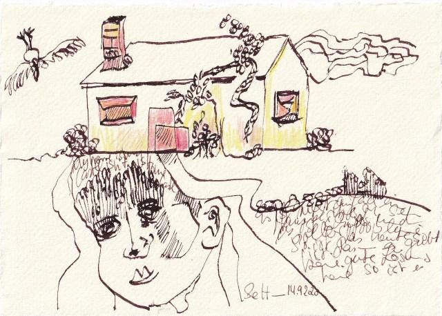 Tagebucheintrag 14.09.2020, Das ist keine gute Lösung, 20 x 15 cm, Tinte und Buntstift auf Silberburg Büttenpapier, Zeichnung von Susanne Haun (c) VG Bild-Kunst, Bonn 2020