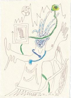 Tagebucheintrag 19.09.2020, Nord Stream 2, 20 x 15 cm, Tinte und Buntstift auf Silberburg Büttenpapier, Zeichnung von Susanne Haun (c) VG Bild-Kunst, Bonn 2020