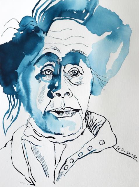 Mein Sinnbild von Ricarda Huch, Zeichnung von Susanne Haun, 32 x 24 cm, Tusche auf Aquarellkarton (c) VG Bild-Kunst, Bonn 2020