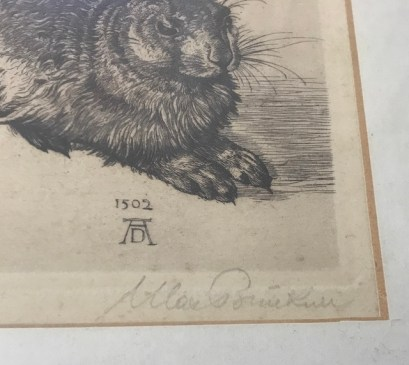 Kopie von Albrecht Dürers Hase, im goldenen Rahmen, Signatur (c) Sammlerin - Susanne Haun