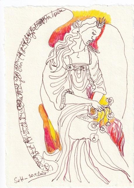 Tagebucheintrag 30.09.2020, Beschütze mich, 20 x 15 cm, Tinte und Buntstift auf Silberburg Büttenpapier, Zeichnung von Susanne Haun (c) VG Bild-Kunst, Bonn 2020