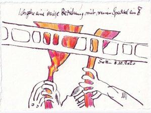 Tagebucheintrag 08.10.2020, Ich gehe eine innige Beziehung mit meinem Spachtel ein, 20 x 15 cm, Tinte und Buntstift auf Silberburg Büttenpapier, Zeichnung von Susanne Haun (c) VG Bild-Kunst, Bonn 2020
