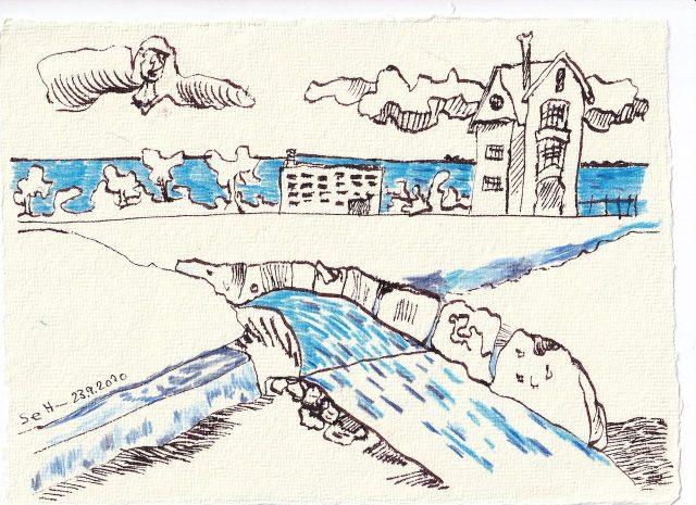 Tagebucheintrag 23.09.2020, Blau leuchtet die Landschaft, 20 x 15 cm, Tinte und Buntstift auf Silberburg Büttenpapier, Zeichnung von Susanne Haun (c) VG Bild-Kunst, Bonn 2020