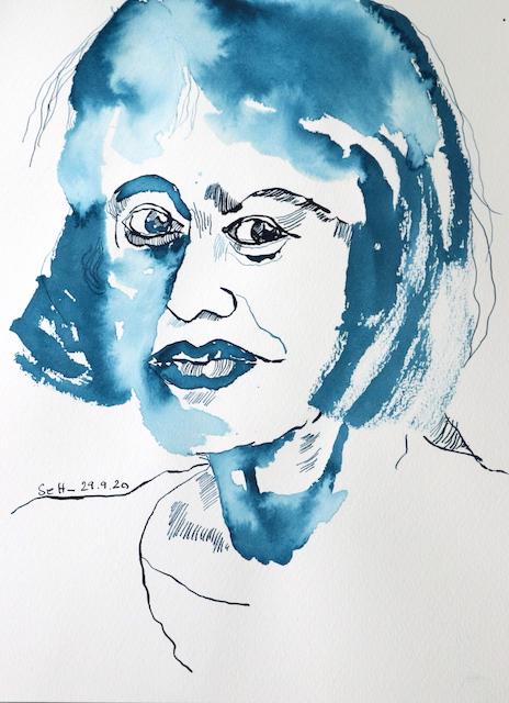 Mein Sinnbild von Sylvia Plath, Zeichnung von Susanne Haun, 32 x 24 cm, Tusche auf Aquarellkarton (c) VG Bild-Kunst, Bonn 2020