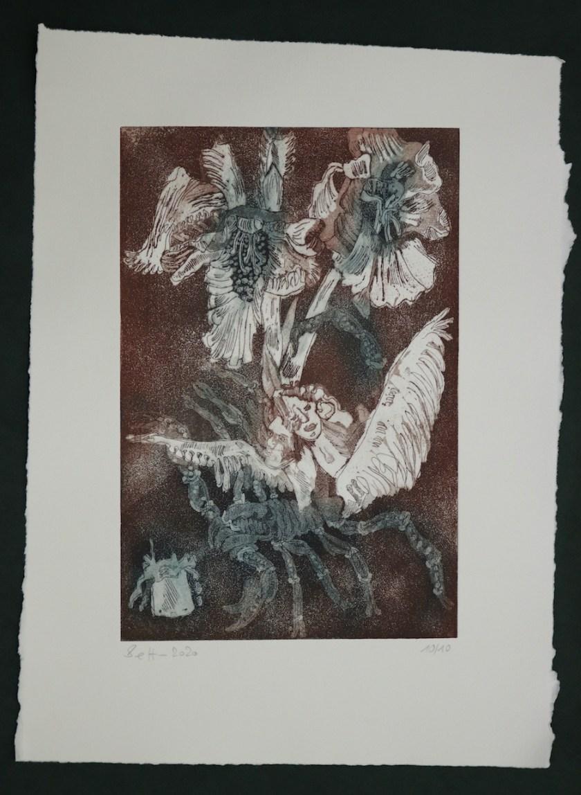 10-10, Auch Engel lassen sich gerne tragen, 29,5 x 19,5 cm, 38,5 x 26 cm, Hahnemühle 300g, weiß matt, Kuperdruckpapier, Aquatinta von Susanne Haun