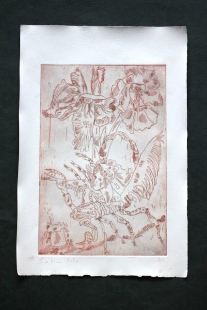 2-2, Auch Engel lassen sich gerne tragen, 29,5 x 19,5 cm, 38,5 x 26 cm, Hahnemühle 150g, weiß matt, Kuperdruckpapier, Strichätzung von Susanne Haun