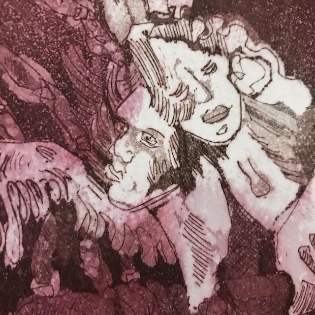 Ausschnitt gedruckte Aquatinta Radierung von Susanne Haun (c) VG Bild-Kunst, Bonn 2020