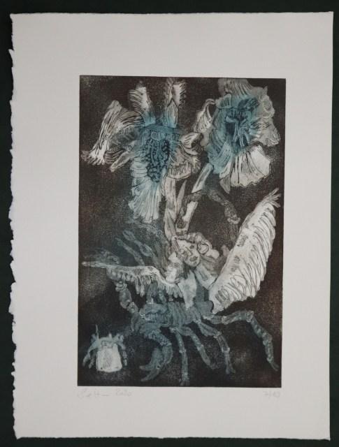 7-10, VERKAUFT :: Auch Engel lassen sich gerne tragen, 29,5 x 19,5 cm, 38,5 x 26 cm, Hahnemühle 300g, weiß matt, Kuperdruckpapier, Aquatinta von Susanne Haun