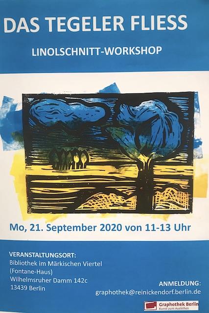 Ankündigung Linolschnitt Workshop mit Susanne Haun in der Graphothek Berlin