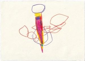 Tagebucheintrag 10.11.2020, Dreh Kreisel, dreh, 20 x 15 cm, Buntstift auf Silberburg Büttenpapier, Zeichnung von Susanne Haun (c) VG Bild-Kunst, Bonn 2020